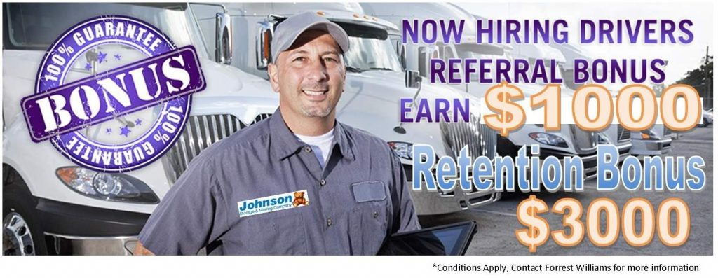 Johnson Storage and Moving Hiring Drivers